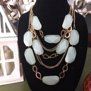 3 strand pale green statement necklace